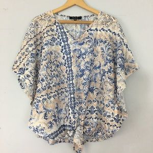 [B.L.E.U.] Tie front crocheted sheer top